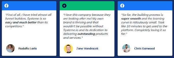 Testimonials from systeme.io customers
