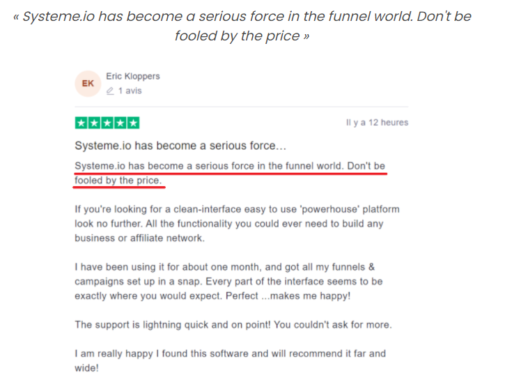 testimonials from systeme.io's customers