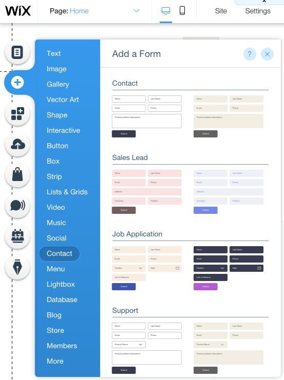 interface WIX pour créer un site en glisser-déposer
