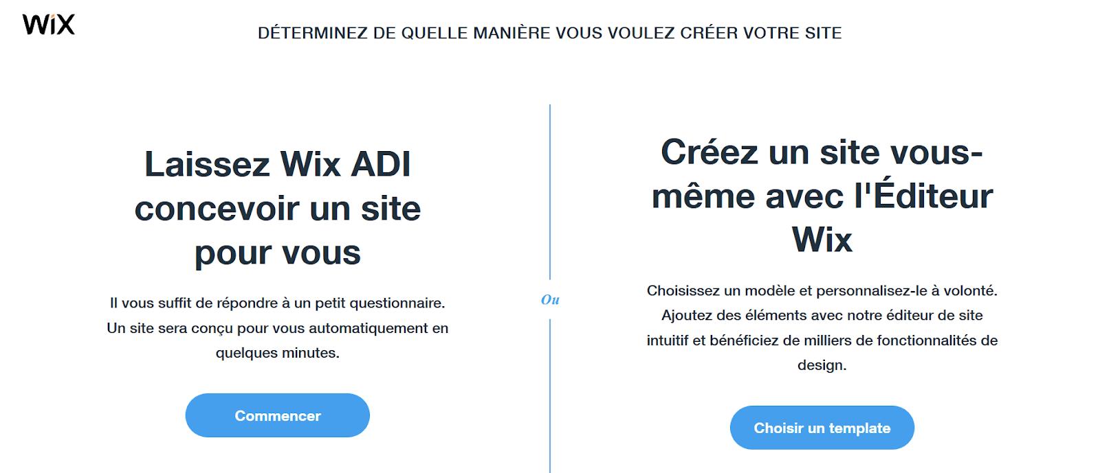 choix du constructeur de site WIX : ADI ou éditeur