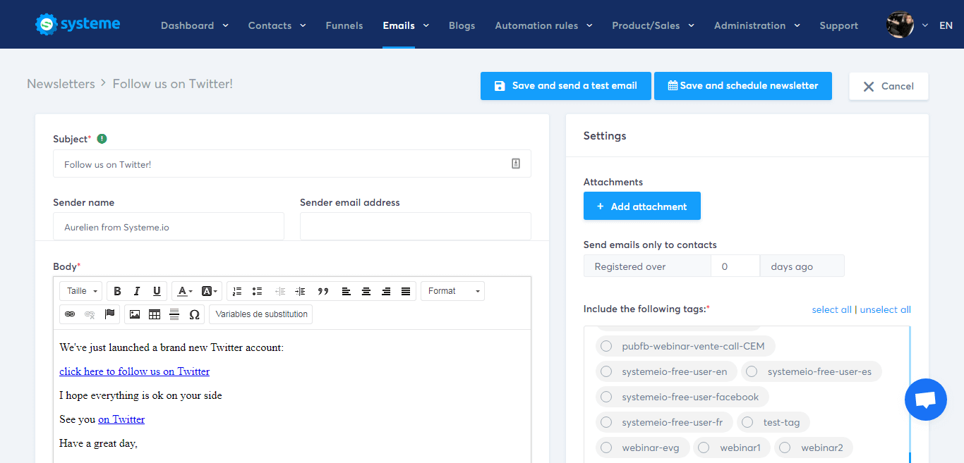 systeme.io email template