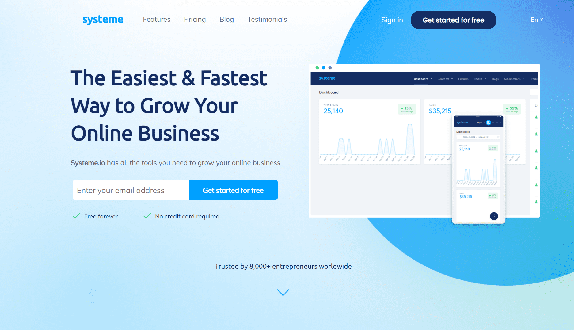Systeme.io's home page