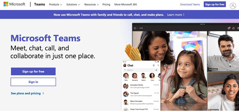 MS Teams Home page