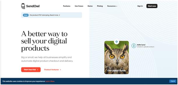 SendOwl homepage