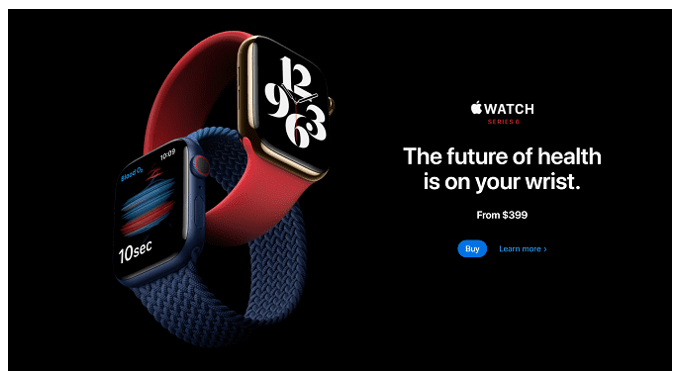 Apple's landing page for watches