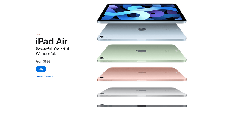 Apple's product page for the iPad Air