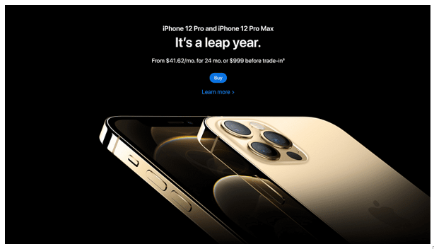 Apple's product page for the iPhone 12