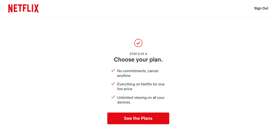 Netflix's page for choosing your plan