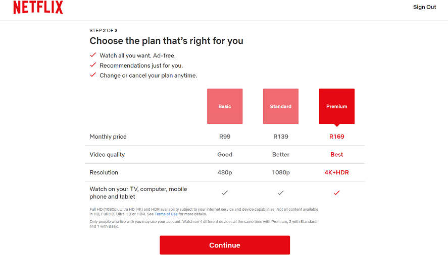 Netflix's pricing page