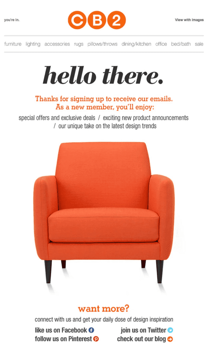 welcome email by CB2