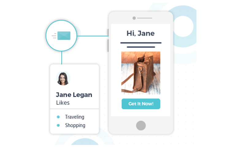 A preview of Moosend's personalization features