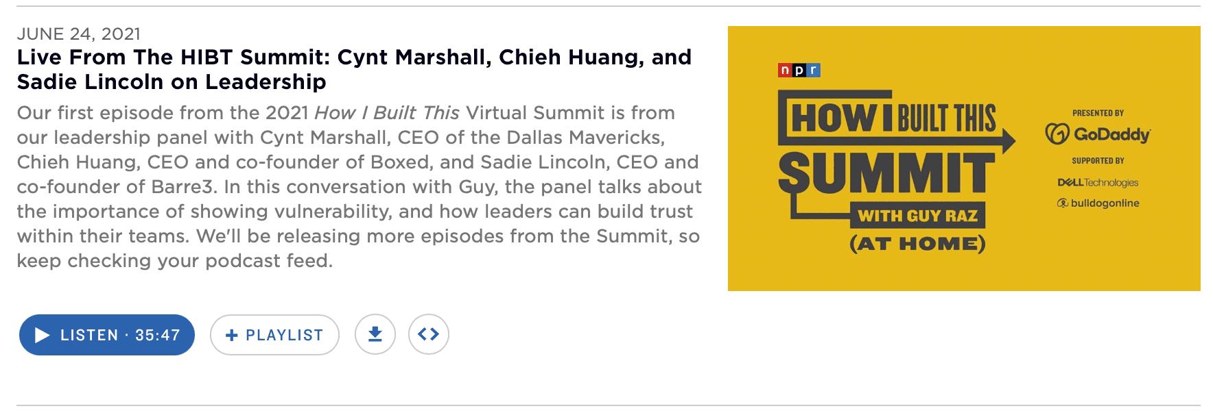 A How I Built This episode via NPR