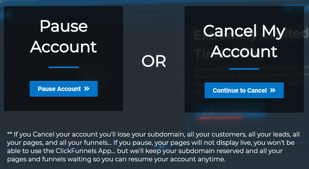 cancel or pause your ClickFunnels account
