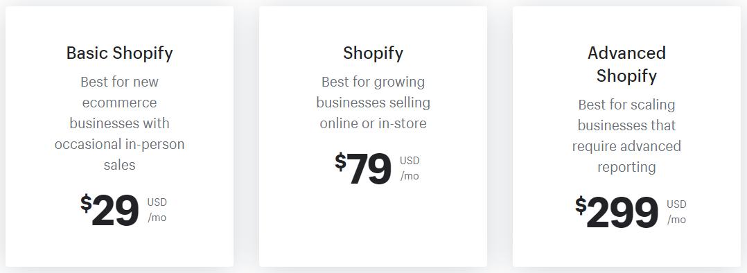Shopify's core plans