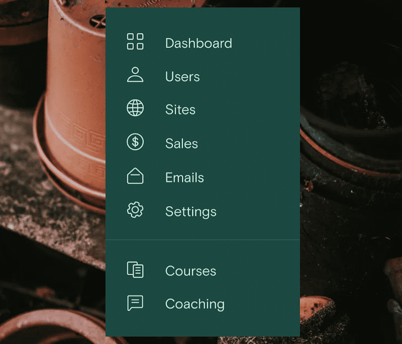 Teach:able's dashboard of features