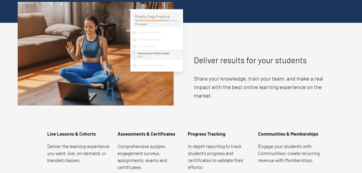 Thinkific's student experience features
