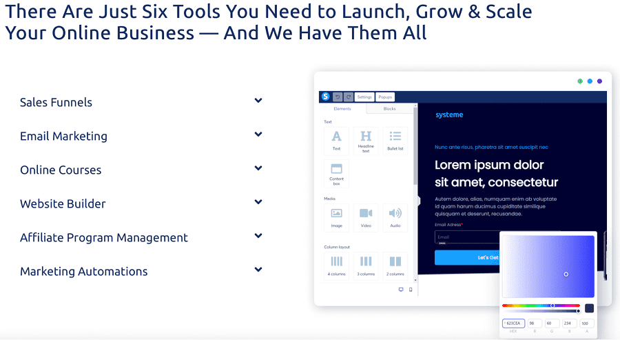 systeme.io's fully kitted-out features
