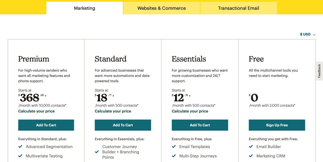 Mailchimps's Marketing pricing plans