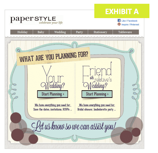 Paper Style's email campaign