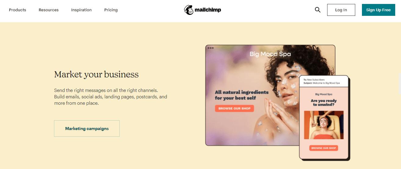 Mailchimp's marketing channels