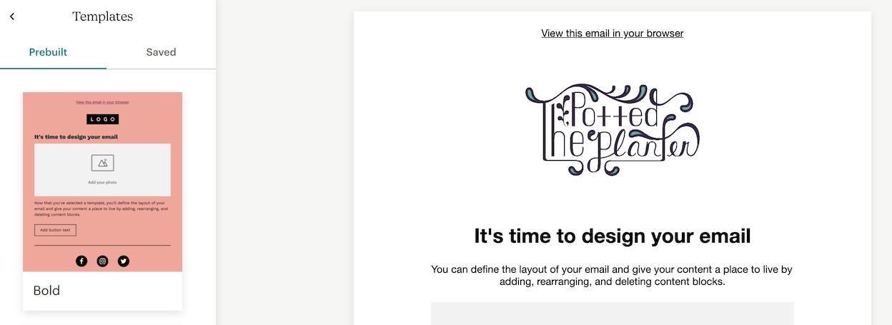 Mailchimp's pre-built email templates