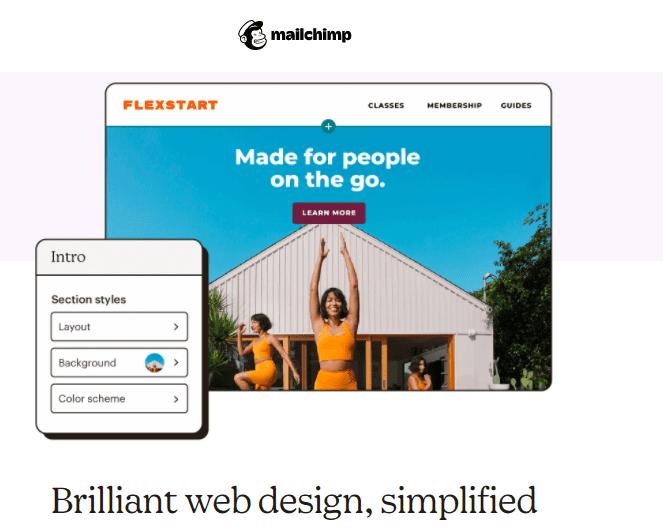 Mailchimp's website builder
