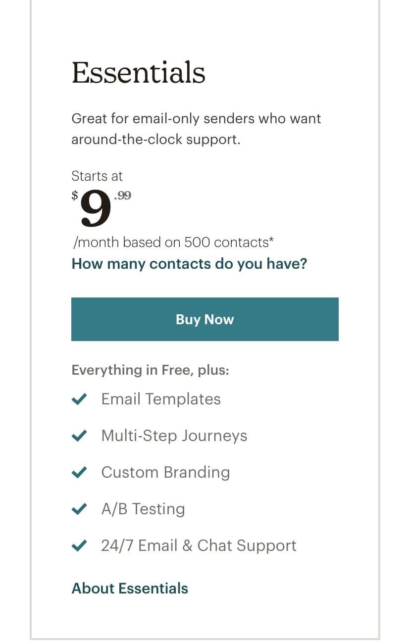 Mailchimp's Essentials plan