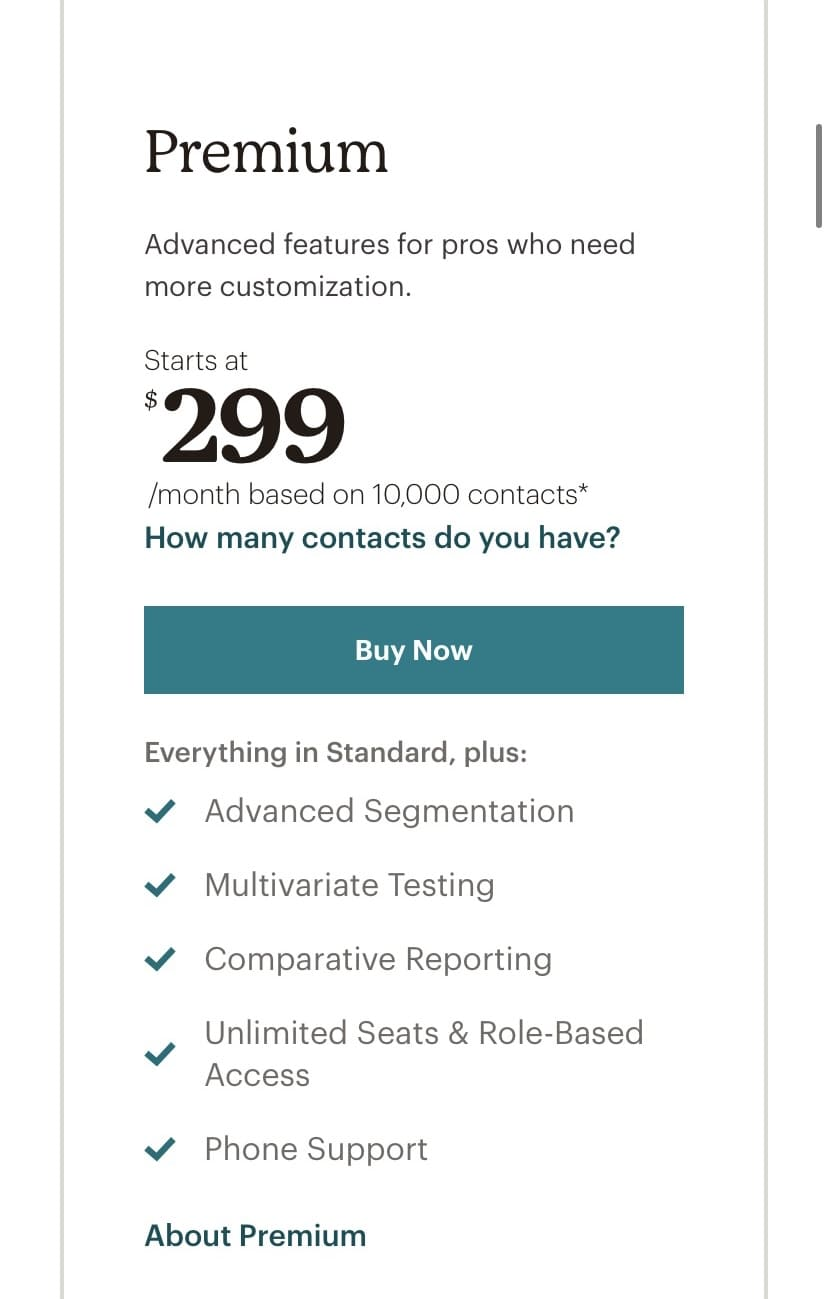 Mailchimp's Premium plan