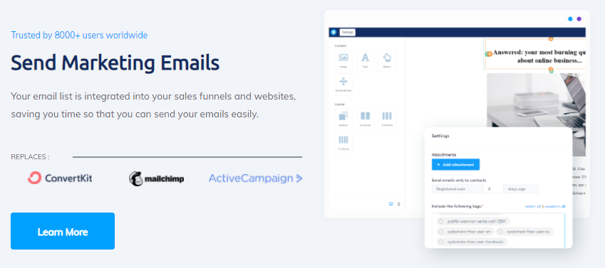 systeme.io's features for email marketing