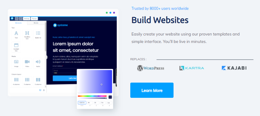 systeme.io's features for building websites