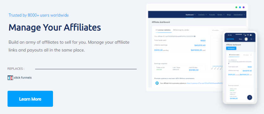 systeme.io's features for affiliate marketing
