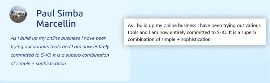 An example of an effective testimonial from systeme.io