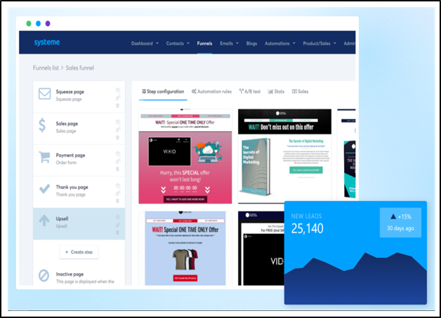 A preview of systeme.io's funnel editor