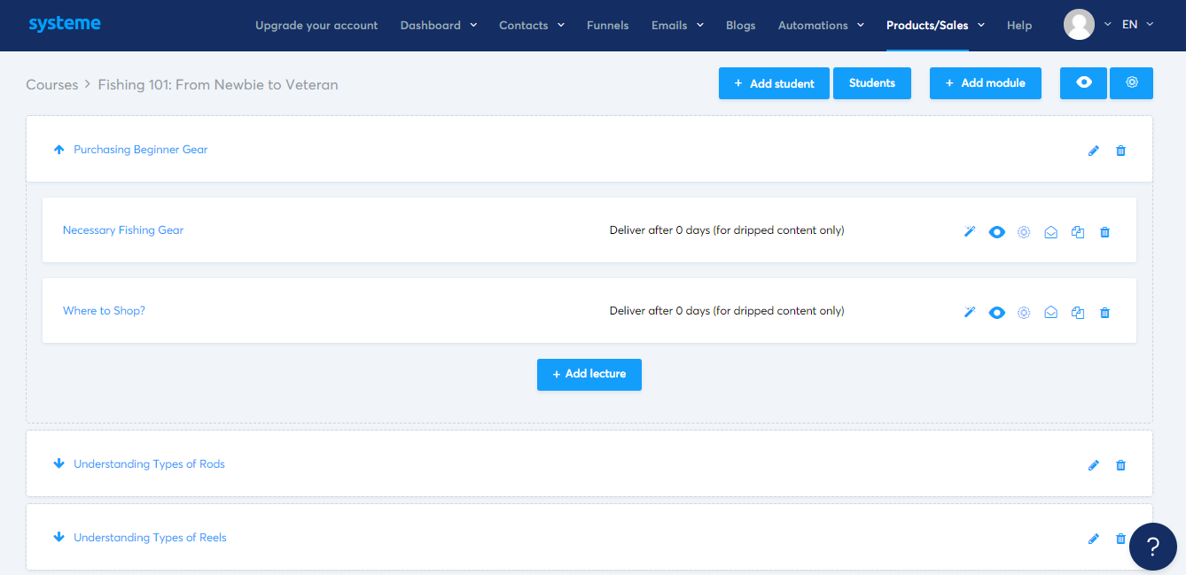 systeme.io's course outline dashboard