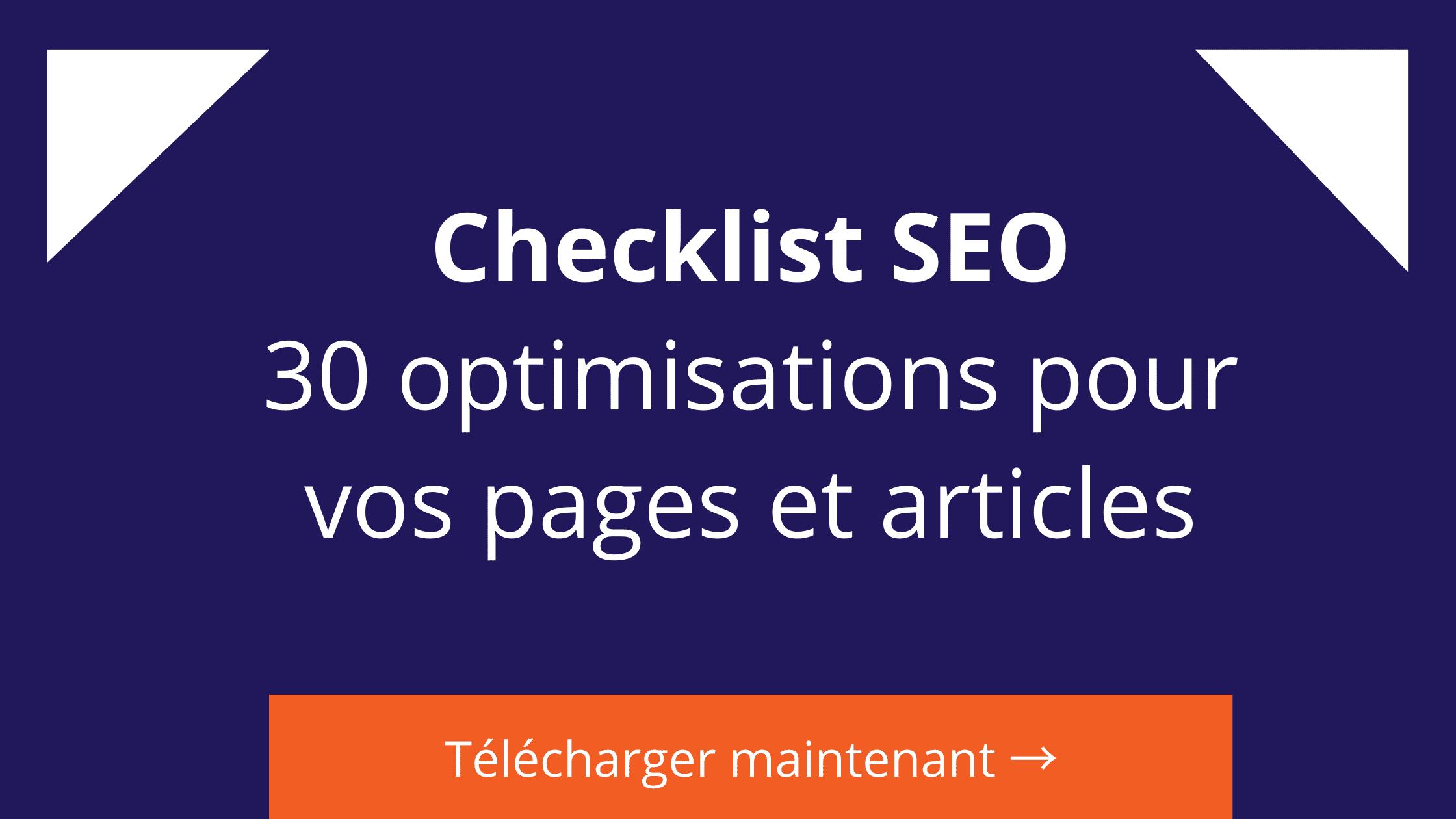 checklist seo optimisations pour les pages et articles