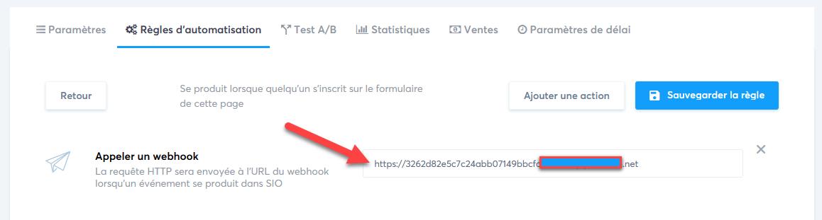 webhook systeme io sandy de chirac
