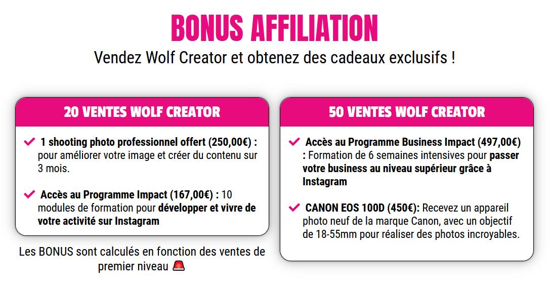 bonus affiliation wolf creator