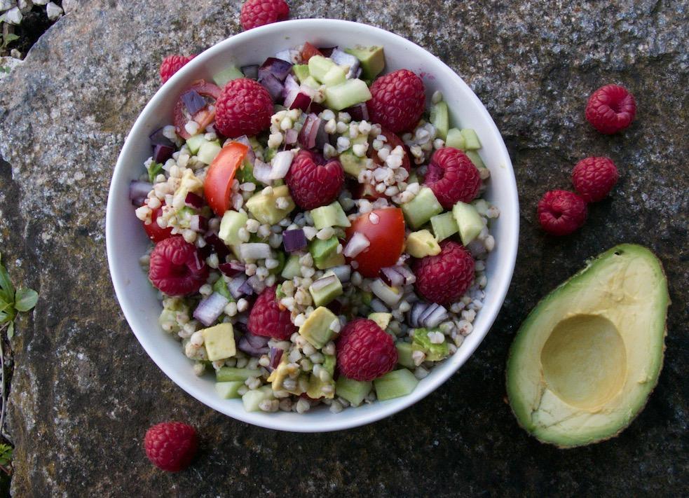 Salade de sarrasin aux framboises