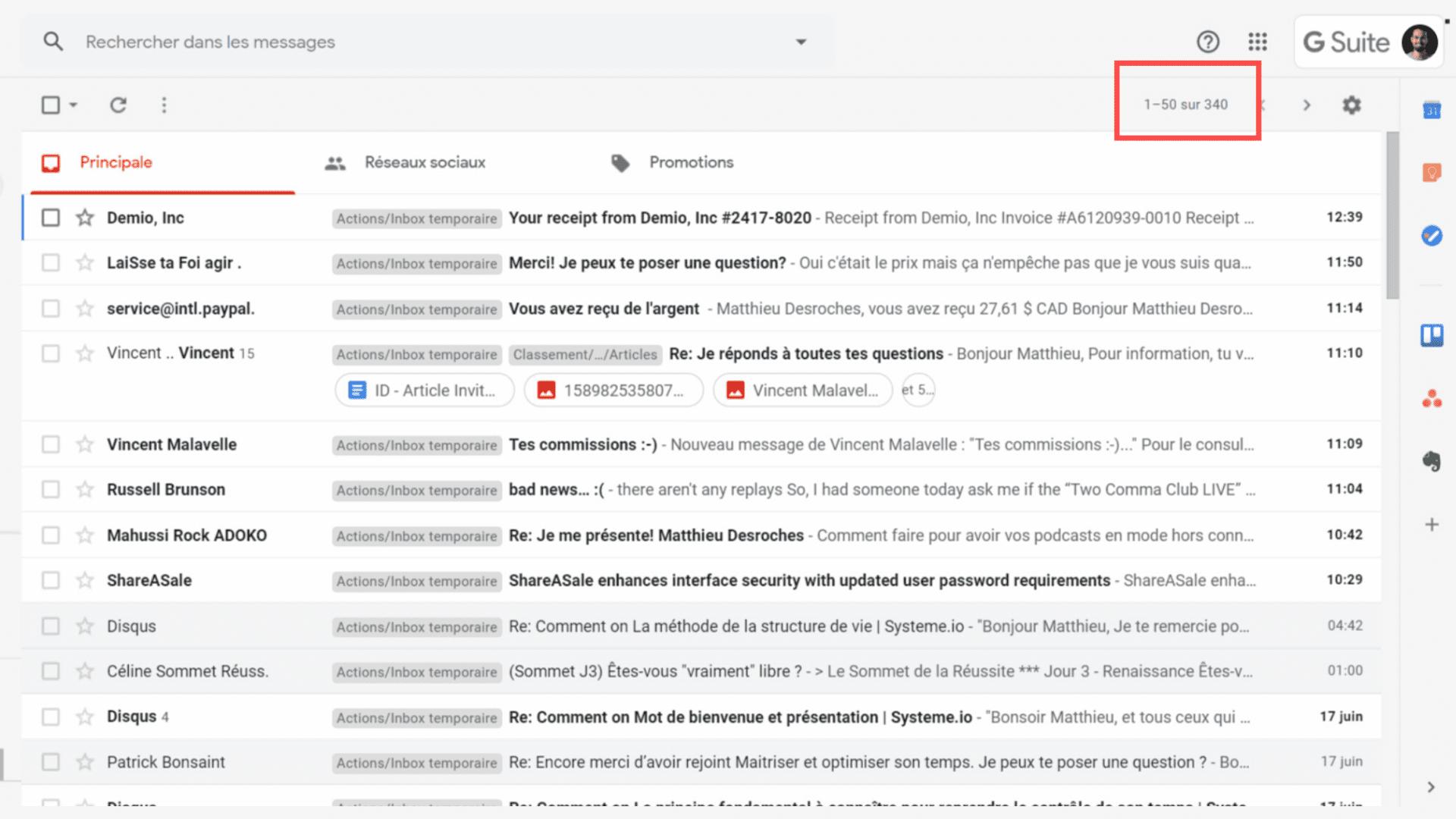 boite mail saturée